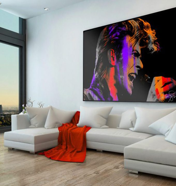Singing Bowie pink large canvas 625